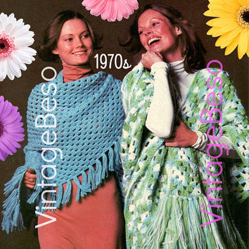 EASY Two Shawls 1970s Vintage Crochet Pattern PDF Instant Download Ladies Think Granny Square and Even Easier Than a Granny Square