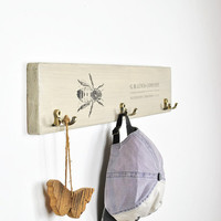 Gift for beekeepers | Present for bee keeper | coat rack for apiarists | apiculture theme gift | wooden vintage rustic coat hanger bee print