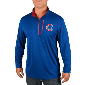 Men's Chicago Cubs Majestic Royal Half-Zip Pullover Top