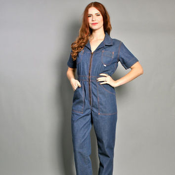 70s DENIM JUMPSUIT / Boho Blue Jean Wide Leg Mechanic Coveralls, xs-s
