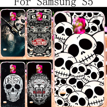 Painted Hard Plastic &Soft TPU Silicon Phone Cases For Samsung Galaxy SV I9600 S5 G900 Case Shell Cover Cool Skull Pattern