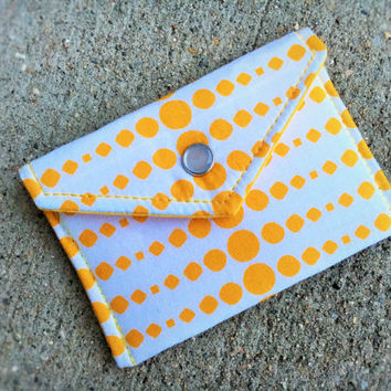 Coin Purse, Credit Card Holder, Gift Card Holder, Business Card Holder, Graduation Gift, Yellow Linear Dots on White