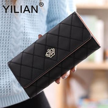 Hot Sale New Fashion High-Capacity Women Wallets Metal Crown Lady Long Clutch Purse Female Pu Leather Holder Wallet Christmas Gi