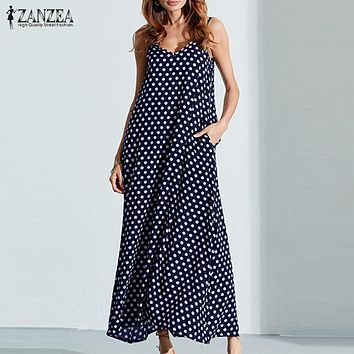 ZANZEA Summer Dress 2018 Fashion Women Dress Spaghetti Straps Polka Dot Loose Beach Long Maxi Dresses Vintage Vestidos Plus Size