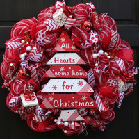 Red & White Christmas Deco Mesh Wreath