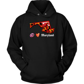 Love Maryland State Flag Map Outline Souvenir Hoodie