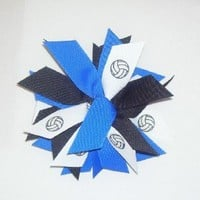 Volleyball Pom Hair Bow Scrunchie - Made in the USA, Avail in Many Colors