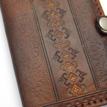 Vtg leather brown wallet with mirror Hand toolded Carved leather Antique bag Soviet wallet Russian vintage Distressed leather wallet