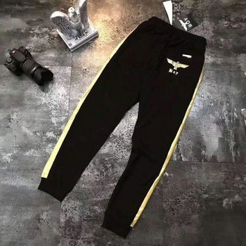 ESBONV BOY Men Fashion Print Sport Stretch Pants Trousers Sweatpants Black/Golden G-A-XYCL