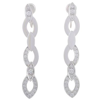 Cartier Diamond Pave White Gold Long Drop Screw-Back Earrings