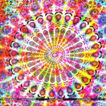 Tie Dye Mandala Throw Hippie Boho Gypsy Wall Tapestry Twin Bohemian Medallion
