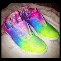 Neon Glitter Shoes by BritStore on Etsy