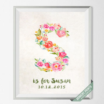 Nursery Art, Print, Susan, Custom Name, Personalized, Baby Shower, New Born, Sarah, Sophia, Stella, Gift, S, Baby, Initial, Girl [NO 123]