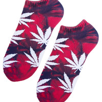 TIE DYE PLANTLIFE RED & BLUE ANKLE SOCKS