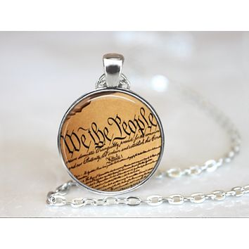We The People United States Constitution Cabochon Necklace