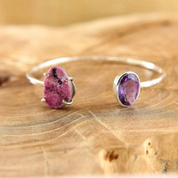 Pink drusy and amethyst open cuff bracelet Hammered sterling silver cuff Open bangle bracelet with two natural gemstones