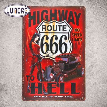 """Route 66 Highway to Hell Devil "" Pin up girl Vintage Metal Poster Tin Sign Wall Plate Garage Bar Pub sign Home Wall Decor"