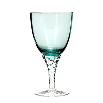Vintage Wine Glasses, Twisted Stem, Turquoise Art Glass, Set of 5