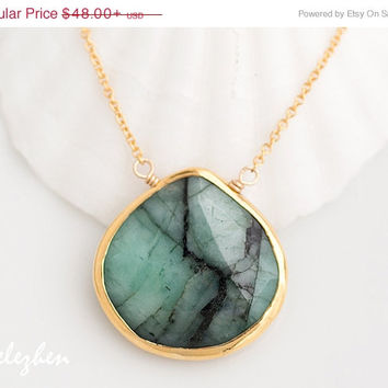 Mothers Day Sale - Raw Emerald Necklace - May Birthstone Necklace - gemstone necklace - Gold Necklace - Green Emerald Necklace