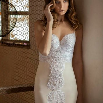 Elegant Wedding Dress, Sexy And Custom Made Open Back Lace Champagne Wedding Dress