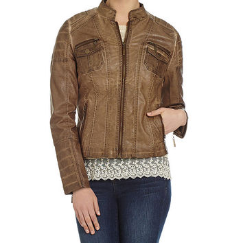 Indigo Saints Faux-Leather Jacket | Dillards