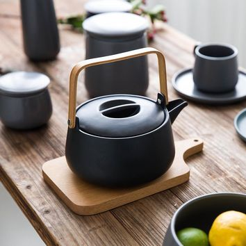 Black Ceramic Japanese Teapot