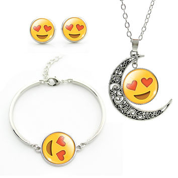 2016 Newest Emoticons Jewelry Set moon pendant necklace Earrings bracelets sets Silver Plated Hearts,Face Charm Set JS060