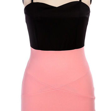 Spaghetti Strap V-Neck  Asymmetrical Bodycon Dress