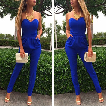 Fashion Neck Elastic Waist Jumpsuits Rompers