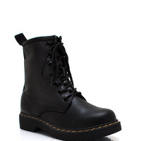Full-Combat-Faux-Leather-Boots BLACK - GoJane.com