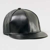Black Leather Look Snapback
