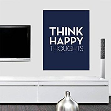 Wall Decal Vinyl Sticker Decals Art Decor Design Qoute Think happy thoughts Sign Words inspire Family bedroom Work Plase Dorm Kids (r689)