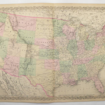 1881 United States Map, Colton Map of United States, Large Vintage USA Map, US History Buff Gift, Man Cave Art Gift for Him, Office Art Gift