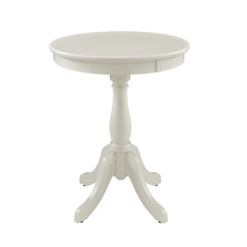 A.M.B. Furniture & Design :: Accessories :: Plant Stands :: White finish wood round plant stand side table with turned post design