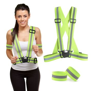 3Pcs/ Set Traffic Reflective Safety Vest Outdoor Cycling Glow Night Running Vest Landscape Security &2 Reflective Wrist Band