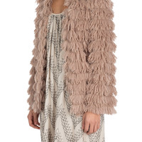 Shaggy Fur Jacket in Mauve