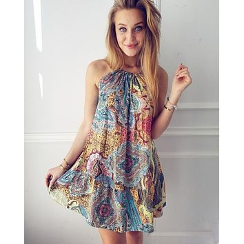 Fashion Multicolor Retro Totem Print Narrow Shoulder Sleeveless Strap Mini Dress