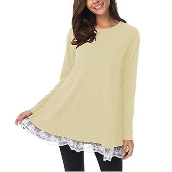 Casual Long Sleeve Loose Lace Tunic