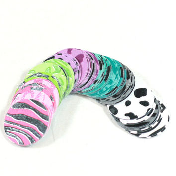 100 glossy animal print card stock 1 inch circle rounds for bottle cap crafts bulletin boards table scatter confetti scrapbook card making