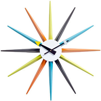 Modway Sunburst Wall Clock in White Black Yellow Blue Green Orange