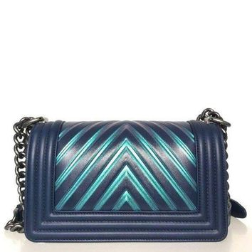 ONETOW Chanel Painted Chevron Iridescent Boy Bag (Size - Small)
