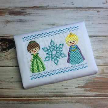 Frozen faux smock- Elsa- Ice princess- frozen shirt