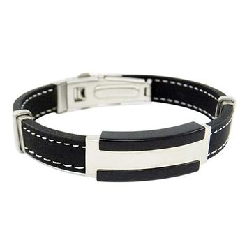 Men's Rubber Black Wristband Bangle