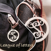 2 inch Single Letter Monogram Key Chain, Purse/Backpack Tag Luggage Diaperbag Tag with color acrylic choices