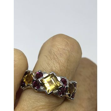 Vintage Gothic Golden Citrine and red Garnet 925 Sterling Silver Ring