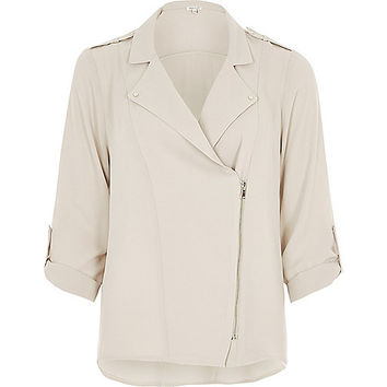 Cream biker shacket - shirts - tops - women