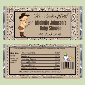 Cowboy Baby Shower Candy Bar Wrapper