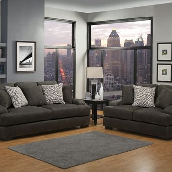 Benchley Rowland SL Charcoal 2 pc rowland collection charcoal fabric upholstered sofa and love seat set with set back arms