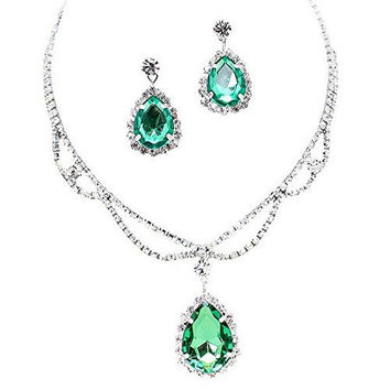 Sage Mint Green Statement Teardrop Bridal Bridesmaid Necklace Earring Set Silver Tone C5