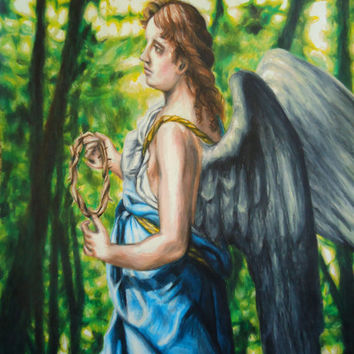 Angel in Blue - Angel artwork - Original Angel art - Colored pencil drawing - Gift for remembrance - Child loss - Memorial art - Angel art